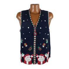 Ugly Christmas Sweater Vintage 1980s Tacky Holiday Santa Vest Party Women's size L