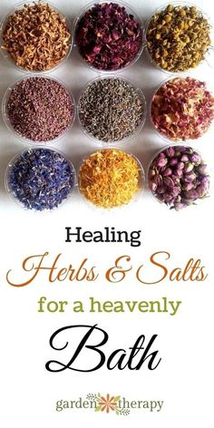 Healing herbs and salts for your bath to relieve sore muscles, pain, dry skin, and more. How to make them into lovely tub teas to use or as a gift idea. #sponsored                                                                                                                                                     More
