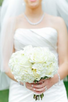 Creamy White Mixed #Bouquet | http://www.stylemepretty.com/illinois-weddings/wheaton/2013/12/11/cantigny-park-wedding  Kina Wicks Photography