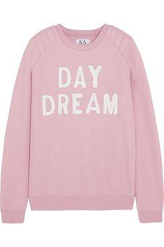 Zoe Karssen|Day Dream leather-appliquéd cotton-blend jersey sweatshirt|NET-A-PORTER.COM