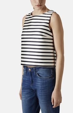 Topshop Bonded Stripe Shell available at #Nordstrom