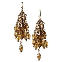 Tea Infused Resin Dangle Beads Chandelier Cluster Statement Earrings