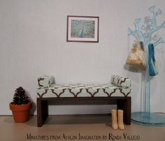1:6th Scale Miniature Dollhouse Barbie, Blythe, etc. Upholstered bench in aqua/green and chocolate brown with matching bolsters - hand made