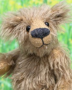 Jethro is a quiet and understated yet adorably scruffy one of a kind artist bear in shaggy, wolfie German mohair by Barbara-Ann Bears