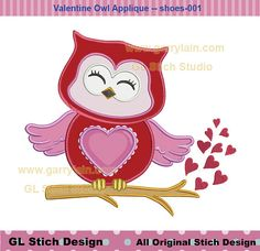 Owl applique, cute owl, Valentine's day applique, machine embroidery applique design, heart branch owl pattern, owl-018-2d-3