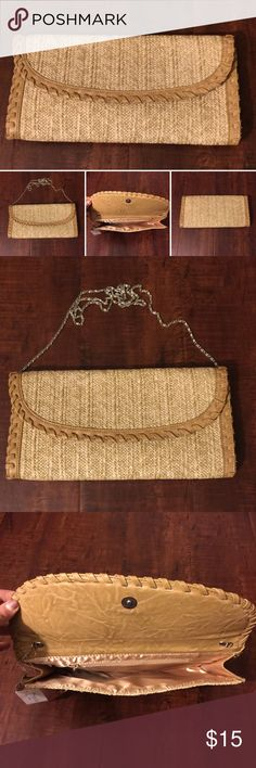 """💥MUST GO💥 Beige\Taupe Bamboo Clutch Beige\Taupe Clutch  ☀️Detachable Chain. Measuring 46"""" ☀️Length 12 1/2"""" ☀️Hight 6"""" ☀️width 1""""  🕊I accept reasonable offers!! I truly do! With  the exception of items labeled """"Price Firm""""  🕊Serious buyers please & No Low ballers! Asking for half or more off an item is Low Balling. Amor Adore Bags Clutches & Wristlets"""