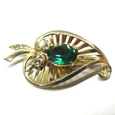 Green Rhinestone Brooch - Vintage, Coro Signed, Gold Tone, Green and Clear Rhinestones, Openwork Floral Pin by MyDellaWear on Etsy $24