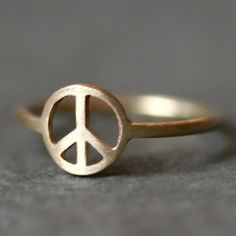 Peace Sign Ring in 14k Gold by MichelleChangJewelry on Etsy