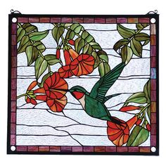 Meyda Tiffany Floral Hummingbird Stained Glass Window