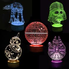 These awesome Star Wars Deco Lamps will help you see in the dark. These intricately designed lamps with laser engraved fine lines create illusions of your favorite Star Wars character when light from the wooden base passes through the panel. Cnc, Star Wars Lamp, Star Wars Bedroom, Johannes, Geek Out, Geek Chic, Decoration, Nerdy, Geek Stuff