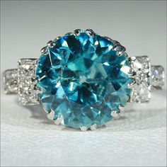 Vintage Art Deco Blue Zircon and Diamond Platinum Ring