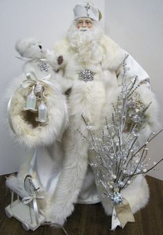 Father Christmas Doll: Cream with Rhinestones and Vintage Cream Rabbit Fur ( One of a Kind Handmade Old World Santa Claus )