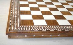 """Plastic Folding Chess Board, Plastic Chess Square Chess Board = white parquet (pronounced = """"par-kay"""") inlay design http://www.chessncrafts.com/chess-boards/index.html"""
