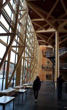 Wooden Truss in Sibelius Concert Hall in Lahti, Finland by Kimmo Lintula Architects completed in in 2000 Arctic Circle, Concert Hall, Finland, Architects, Tours, Pavilion, Gallery, Canopy, Culture