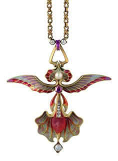 WOLFERS FRERES (Belgium) orchid Ailee pendant ..gold, enamel, diamonds, pearls. 1902… via the Landesmuseum Württemberg