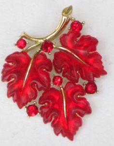 Vintage Lisner Red Thermoset Plastic & Rhinestone Leaf Brooch #vintagebrooch…