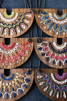 Hand embroidered wood necklace kit by Red Gate Stitchery #embroidery #handstitching