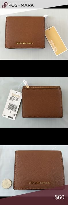 """Michael Kors Jet Set Travel Carryall Case - NWT Snap front leather card case / wallet, with interior ID window. I think they call this brown color """"Luggage."""" New with tags.   Size approx. 4.5""""w 4""""h x 1""""d when closed. KORS Michael Kors Bags Wallets"""
