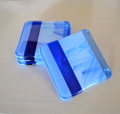 Hydrangea Blues Fused Glass Coaster on Etsy, $25.00