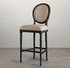Seating - Vintage French Round Upholstered Barstool I Restoration Hardware - weathered french round bar stool, weathered oak french round ba. Oak Bar Stools, Stools For Kitchen Island, Bar Chairs, Counter Stools, Bar Counter, Office Chairs, Island Chairs, Lounge Chairs, French Dining Chairs