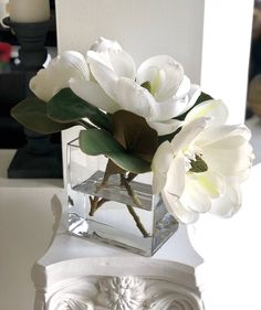 Your place to buy and sell all things handmade Faux Flower Arrangements, Low Centerpieces, Faux Flowers, Large White, 20 Years, Counting, Magnolia, Wedding Stuff, Butterflies