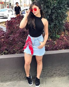 Cute Jean Skirt Outfits to Create Perfect Street Style - Outfit Styles Classy Outfits, Fall Outfits, Summer Outfits, Casual Outfits, Cute Outfits, Jean Skirt Outfits, Denim Skirt, Look Star, Girl Fashion