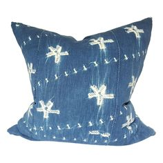 "24"" Indigo African Mud Cloth Pillow"