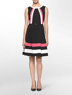 colorblock ponte knit belted sleeveless fit + flare dress | Calvin Klein