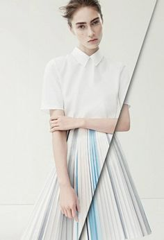 Pastel pleated skirt // Marine Deleeuw for Jil Sander S/S2014 Campaign