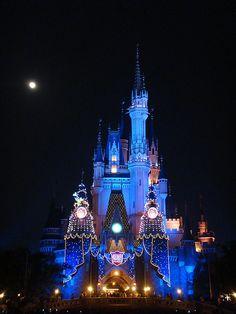 Tokyo Disneyland's Cinderella Castle decorated for the twenty-fifth anniversary Travel Box, Time Travel, Night Scenery, Universal Studios Japan, Paris France, Hong Kong, Tokyo Disneyland, Travel Channel, France