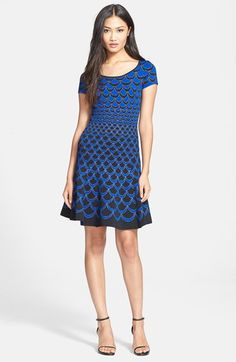 Diane von Furstenberg 'Alina Acorn Moon' Knit Fit & Flare Dress available at #Nordstrom Petite L = 10 on sale $239 from $598