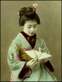 Vintage Japanese postcard - Origami