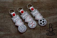 I Love Baseball-Soccer-Volleyball Key Fob/Snap Tab/KeyChain by FlyinBFarmsLLC on Etsy