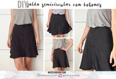 DIY sewing  Half circle skirt sewing tutorial   Tutorial de costura falda semicircular abotonada
