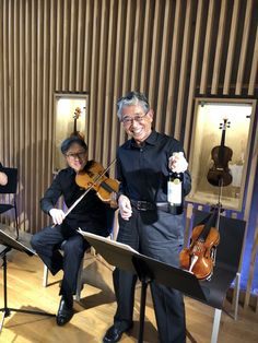 Music or wine? My viola partner obviously found wine as his first choice before practice before a concert.