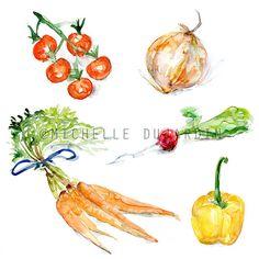 Vegetables watercolor clipart - Digital Print - Veggie Painting Direct Download - Tomato Radish Onion Carrot yellow pepper art food recipe