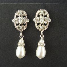 Pearl & Rhinestone Art Deco Earrings, Retro Vintage Style Bridal Earrings, Ivory Bridal White Pearls. $36.00, via Etsy.
