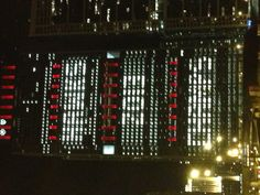 Stanley Cup champions Chicago Blackhawks 2013, downtown loop building in lights.
