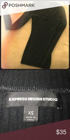 Express stylish stretchy Black sweater💋 Made from rayon nylon and spandex 😘 Express Sweaters V-Necks