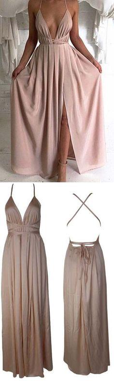 Blush Pink prom dresses,Sexy Prom dress,Backless prom dress,Plunge V Neck evening gowns,Slit prom dress,long prom dress,Criss cross straps prom dress