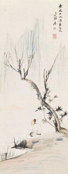 Zhang Daqian(b. 1899~1983) HERMIT UNDER WILLOW Hanging scroll; ink and colour on paper  104 x 41 cm. 41 x 16 1/8 in. 張大千(b. 1899~1983) 柳蔭高士 立軸 設色紙本  104 x 41 cm. 41 x 16 1/8 in. 約3.8平尺  鈐印:張爰、兩到黃山絕頂人_x000D_ 題識:秉之仁兄法家正之。蜀人張爰。