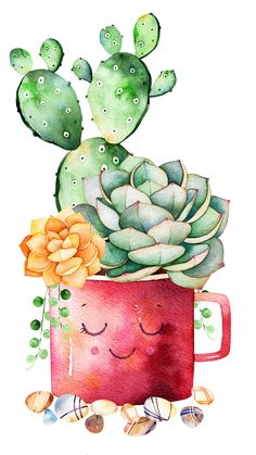 Watercolor Hand Painted Succulent Plant And Cactus In Pot And Pebble Stones Stock Illustration - Cup Illustration, Hand: 87980261 - Watercolor hand painted succulent plant and cactus in pot and pebble stones vector illustration The - Cactus Drawing, Cactus Art, Garden Cactus, Watercolor Flowers, Watercolor Paintings, Cactus Y Suculentas, Watercolor Illustration, Hand Illustration, Cute Drawings