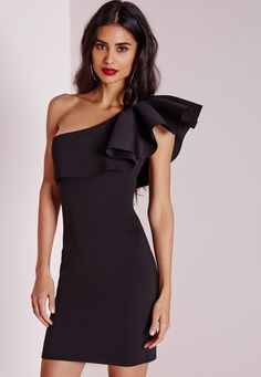 Holy frock girl , This one is our current fave here at missguided. We all love that perfect little black dress and here it is , the belle of the ball. This bodycon-tagious mini dress with one shoulder feature will ensure all eyes are on you...