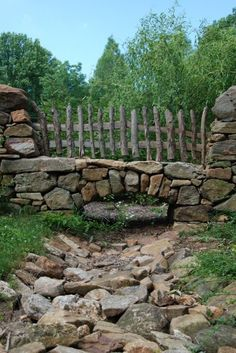 traditional landscape by Archer & Buchanan Architecture, Ltd. Houzz Tour: 'Hobbit House' in Pennsylvania Countryside Bridge over a drainage ditch! Horticulture, Drainage Ditch, Dry River, Rustic Fence, Wooden Fence, Dry Creek, Traditional Landscape, Traditional Exterior, Traditional Japanese