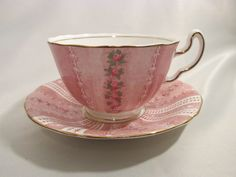 Pink Adderley Lawley Bone China Tea Cup Saucer 245 Made in England Initial J