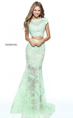 Two Piece Sherri Hill 51013 Green Lace Prom Dress 2017 Sale Sherri Hill Prom Dresses, Prom Dresses 2017, Mermaid Prom Dresses, Mermaid Gown, Gorgeous Prom Dresses, Unique Prom Dresses, Formal Dresses, Wedding Dresses, Lace Prom Gown