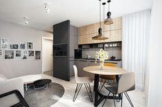 Stylish kitchen by razoo-architekci - . Small Apartment Interior, Kitchen Interior, Interior Design Living Room, Living Room Decor, Kitchen Decor, Neutral Kitchen Designs, Modern Kitchen Design, L Shape Kitchen Layout, Stylish Kitchen