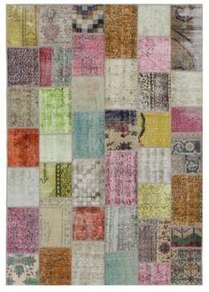 Patterned Multicolor Rug Patchwork Vintage Turkish by bazaarbayar