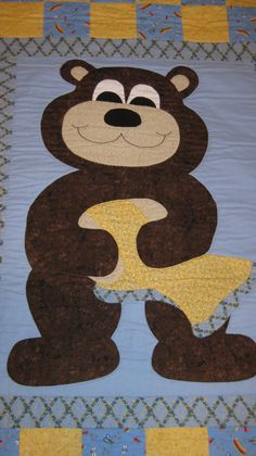 Blue Brown Yellow And Beige Patchwork Crib Quilt. by IHandQuiltItbyLiz on Etsy