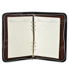 ZJ-5922 Loose Leaf Notebook w/ 8-digit Calculator Artificial Leather Zipper Cover - Black